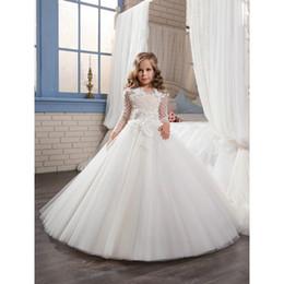 Wholesale Fiesta Birthday - 2017 Ivory White Floor Length Sleeve 2-14 Year Graduation Ball Gown Vestidos De Fiesta Largos Kids Flower Girl Dresses