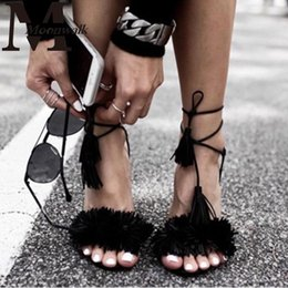 Wholesale Ladies Sexy Gladiator Shoes - Wholesale-Women Summer Shoes Gladiator High Heel Sandals 2016 Fashion Brand Tassels Sandlias Blue Red Sexy Ladies Shoes size 35-40 Z1216