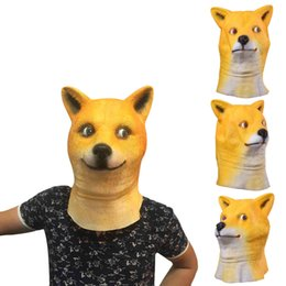 Wholesale Halloween Pvc Props - High Quality Latex Animal Mask Full Face Mask For Adults Halloween Masks Shiba Inu Latex Mask Cosplay Party Costume Prop