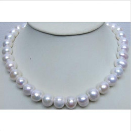 "Wholesale Huge Round Pearls - 18"" HUGE 12-13MM PERFECT ROUND SOUTH SEA GENUINE WHITE PEARL NECKLACE 14K"
