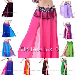 Wholesale Long Chiffon Belly Dance Skirts - Belly Dance Skirt with side Split Simple Layer Dancewear Double Colors Women Full Circle 13 colors Long Skirt Chiffon Belly dance Skirt