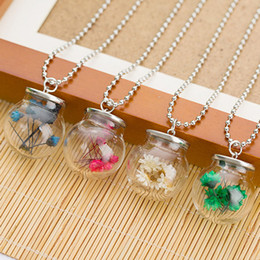 Wholesale Wholesales Jewerly For Sales - wholesale 2017 new arrival hot sale pendant dry flowers glass bottles pendants necklace for gift women jewerly