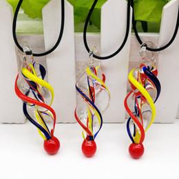 Wholesale Twist Lampwork - Free Shipping Wholesale Hot Fashion 5Pcs Multicolor Twisted Lampwork Glass Pendant Necklace,Fashion Necklace