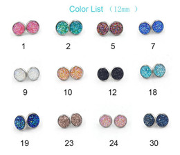 Wholesale Resin Stud Earrings - Hot resin round druzy stud earrings Fashion simple silver plated stone ear stud for women jewelry gift D669
