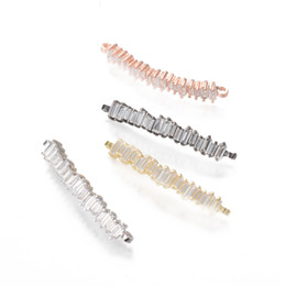Wholesale Silver Plated Tube Beads - 4 Color ECO-Friendly Micro Pave Charm, Connector, Tube Bar Micro Pave Beads, ICSP117, Size 32.8*5.4mm