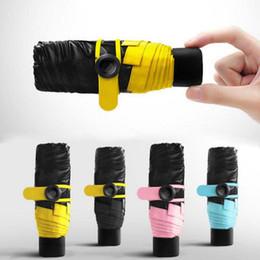 Wholesale Umbrellas Black - Mini Pocket Umbrella Compact Windproof Folding Travel Parasol Super Light Portable Sun Rain Umbrellas 5 Colors OOA2354