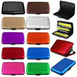 Wholesale Case Briefcase - 1 8sf Aluminum Alloy Mini Briefcase Card Holders Upscale Stripe Water Resistant Aluma Wallet Colorful Card Cover Case New