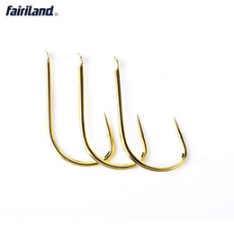 Wholesale Hi Ice - 100pcs New KANTO golden coated no barbed hooks Japan imported reinforced barbless hooks KTSH-E 5# 6# 7# flatted hook eyes Hi-carbon steel