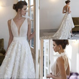 Wholesale Tiered Lace Fabric - 2017 Classic Sheer Fabric A Line Wedding Dresses With Stunning High-low Skirt Deep V Neckline Chapel Train Beach Bohemian Bridal Gowns