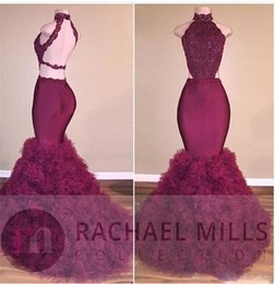 Wholesale Evening Dresses Mermaid Crystals - Burgundy Open Back New Sexy Mermaid Evening Dresses High Neck Lace Crystal Beaded Ruffles Tiered Evening Dress Party Pageant Formal Gowns