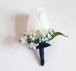 Wholesale Prom Flower Bouquets - Babys Breath Navy Blue Satin Wrapped Ivory Rose Boutonniere Wedding Corsage Groom Best Man Prom Party Quinceanera Graduation Decoration