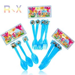 Wholesale Happy Knife - Wholesale-6PCS lot Andy Bonnie toy story Theme knife fork spoon Plastic Party decoration Happy birthday wedding event party supplies