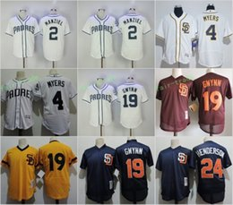2017 johnny manziel jerseys San Diego Padres # 2 Johnny Manziel 4 Wil Myers 19 Tony Gwynn 24 Rickey Henderson Blanc Bleu Red Gold Throwback Retro 1982 Maillot cousu promotion johnny manziel jerseys