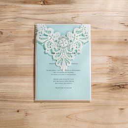 Wholesale Lace For Invitations Wholesale - Wholesale-(50 pieces lot) Laser Cut Elegant Wedding Invitation Card With Pearl White Lace Engagement Invitations For Party CW5190