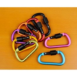 Wholesale Locking Carabiners - Free Shipping Outdoor Sports Equipment D ring carabiner camp keychain Aluminium locking Carabiner Hook carabiner buckle