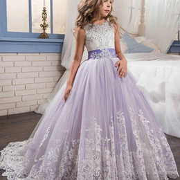 Wholesale Girl Dres - Purple Puffy Ball Gown Flower Girl Dresses Floor Length First Communion Dresses Appliques Lace Graduation Gown Sleeveless Wedding Guest Dres