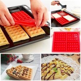 Molho de chocolate de biscoito de silicone on-line-Cavidade de segurança Waffles Bolo Mould O Silicone Quadrado De Chocolate Pan Cozimento Mold 4 Lattice DIY Forno Biscuit Mould