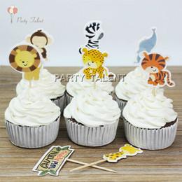 biscotti di carne animale Sconti Cupcake all'ingrosso 48pcs Toppers per bambini Bambini Festa di compleanno Animali della giungla Tema Favore di partito Decorazione Cupcake