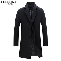 Wholesale Long Fitted Wool Coat Men - Wholesale- 2016 New Arrival Wool Blend Suit Design Wool Coat Men's Casual Trench Coat Design Slim Fit Office Suit Jackets Coat For Men