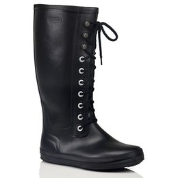 Wholesale Lace Up Rain Boots Women - Wholesale-New Women Men's Fashion Rubber Lace-up Rain Boots Flat Heels Anti-slip Rainboots Woman Waterproof Water Shoes Plus Size #TS21
