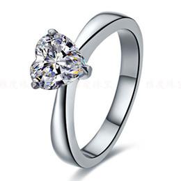 anelli a forma di cuore anello bianco Sconti Incredibile anello in oro con diamanti sintetici a forma di cuore 2CT Anello in argento massiccio massiccio autentici con finitura oro bianco