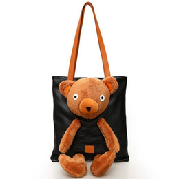 Wholesale Bear Clutch Bag - 2017 Winter Design High Capacity Leather Tote Bag Ladies Day Clutch Shoulder Bag Girls Handbag Plush Bear Women Casual Crossbody Bags