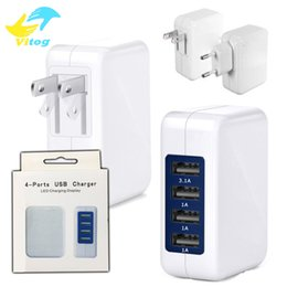 Wholesale High Speed Usb Phone Charger - 3.1A 15W High Speed 4 Port USB Wall Charger Portable Travel Charger Power Adapter with Folding Plug for All Cellphone Phone