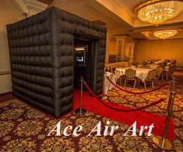 Wholesale black led lighting inflatable photo booth cube tent with curtain for party and events
