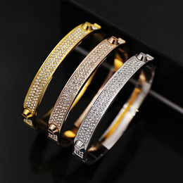 Wholesale bracelets brands - Brand Bijoux Bangles Rivet 316 L Titanium Stainless Steel Full Crystal Bangles Bracelets Fashion Jewelry For Women and Men
