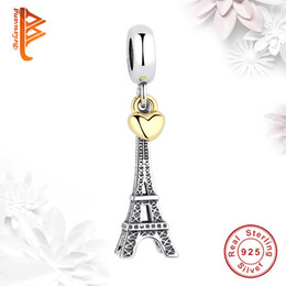 Wholesale Gold Pandora Beads Wholesale - BELAWANG Wholesale 925 Sterling Silver PARIS EIFFEL TOWER Charm Gold Heart Beads Fit Pandora Bracelets Necklaces Jewelry For Valentine's Day