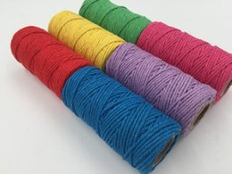 Wholesale 3mm Cotton - 1ROLL 80M 3mm Diy accessories twisted round 100% cotton cord decoration rope Beige cotton rope hand woven drawstring cotton rope 7 color