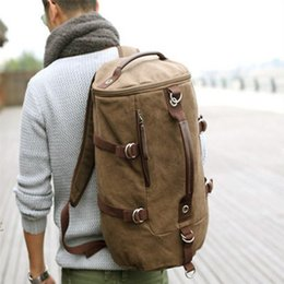Wholesale Pu Soft Materials - Wholesale- Large capacity man travel bag heavy duty canvas material backpack excellent design men shoulder straps adjustable bucket bags