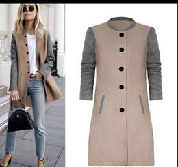 Wholesale Long Wool Red Coat Women - Women's Autumn Winter Long Single Breasted Patchwork Slim Woolen Coat DY17706