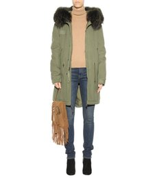 Wholesale Summer Trench Coat Women - MR & MRS ITALY Raccoon Fur-trimmed parka canvas armygreen jacket long parka women's Trench coats for spring and summer