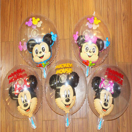 Wholesale Birthday Wave - 19 Inch Cartoon Balloons Foil Aluminum Balloon Mickey Mouse Transparent Wave Balloon Wedding Birthday Party Decoration for Kids Toys Gift