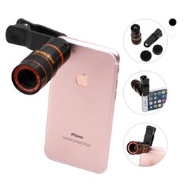 Wholesale Glaxy Phone - Universal 8X Magnification Zoom Optical Mobile Phone Telescope Camera Lens With Clip For iphone 6 6S Plus iPhone 8 Samsung Glaxy S8