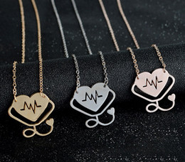 Wholesale Stethoscope Wholesale - New Fashion Unisex Medical Doctor Hollow Heart Stethoscope Cardiogram Pendant Necklace Charm Chain Jewelry Gifts Free Shipping