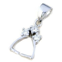 Wholesale Bail Rhinestone Charm - 925 Sterling Silver Plain Bail Pendant Clasp Pinch With Clear Rhinestone Charm Connector Clasp Pendant   Findings   Bright