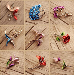 Wholesale Faces Brooches - 10pcs lot Mix Style Fashion Crystal Jewelry Brooches Pins For Jewelry Craft Gift BR06* Free Shipping