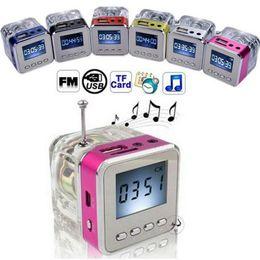 Wholesale Mini Speaker Micro Sd - Speaker Mini Portable LCD Crystal LED TT 028 Loundspeaker Subwoofer Micro SD Card FM Radio For iPhone 6 6S Samsung S6 PC iPod