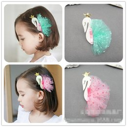 Wholesale Tulle Hair Clip Wholesale - Novelty swan Crown Hair Clip Dots Tulle Childrens Hairclips Girls Korean Fashion princess hairpin barrettes kids Accessories Things A179