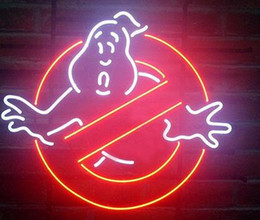 Wholesale neon sign game - 17''X14'' Larger Ghostbusters No Ghosts Pub Bar Game Room Neon Sign