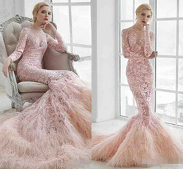 Wholesale Bridal Gowns Ostrich Feathers - Luxurious Ostrich Feather 2016 Arabic Wedding Dresses Long Sleeves Mermaid Lace Bridal Dresses Sexy Illusion Pink Full Lace Wedding Gown