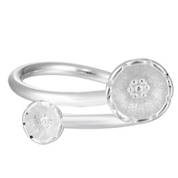Wholesale Sterling Adjustable Ring - 5pcs lot Double Flower Adjustable Opening Ring Wedding Jewelry 925 Sterling Silver Flower and Women Rings Anillo de plata
