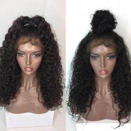 Argentina Pelucas rizadas del pelo humano 9A con la peluca delantera del cordón de la Virgen brasileña del pelo del bebé para las mujeres negras Pelucas llenas del cordón de la calidad superior nudos blanqueados Suministro