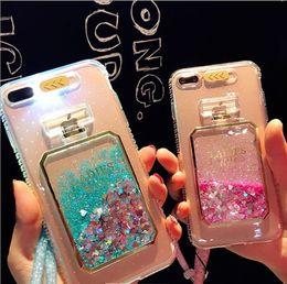 Wholesale Led 3d Iphone Case - Luxury Flash LED Lightning Case Floating Liquid Quicksand Phone Case 3D Perfume- shaped Soft TPU back cover for iphone7 7plus 6 6splus 5S