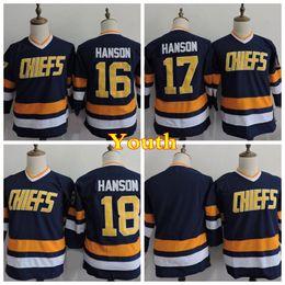 Wholesale Kids Boy Jacked - Youth Charlestown Chiefs 16 Jack Hanson 17 Steve Hanson 18 Jeff Hanson Hockey Jerseys Kids Home Blue Stitched Jersey Cheap Embroidery Logo