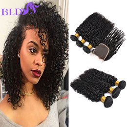 Wholesale Kinky Hair Sale - Hot Sale Kinky Curly 8A Peruvian Bundles With Closure Cheap Hair Extensions Human Hair With Closure Sale Curly Human Hair With Closure