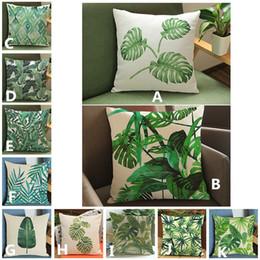 Planta de veludo on-line-2017 nova folha Verde plantas tropicais impresso fronha sofá Casa de linho de veludo de algodão capa de almofada 45 * 45 cm