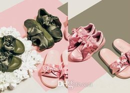 Wholesale Slide Leather - Rihanna Fenty Bow Sneakers Rihanna Bandana Slides,Fenty Slides Women Slippers Fenty Bow Pink Green Slide Slipper Sneakers